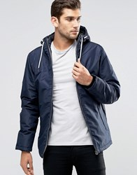 Jack And Jones Hooded Parka With Fleece Lining Navy