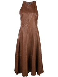 Polo Ralph Lauren Fit And Flare Midi Dress Brown