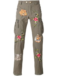 History Repeats Floral Embroidery Trousers Green