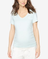 A Pea In The Pod Maternity V Neck Ruched Tee Tropical Mist