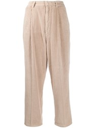 Haikure Corduroy Cropped Trousers Neutrals