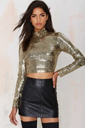 Nasty Gal Flash Dance Sequin Top Gold