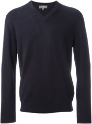 N.Peal 'The Burlington' V Neck Sweater Blue