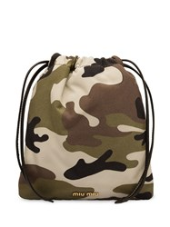 Miu Miu Camouflage Make Up Bag Green