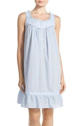 Eileen West Women's Embroidered Cotton Short Nightgown Solid Periwinkle White Floral