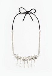 Missguided Silver Drop Pendant Choker Necklace