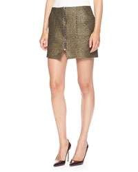 Suno Zip Front Metallic Weave Miniskirt Gold Black Metall