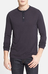 French Connection Long Sleeve Slub Cotton Henley Darkest Blue