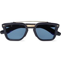 Jacques Marie Mage Apache Square Frame Acetate And Gold Tone Sunglasses Midnight Blue
