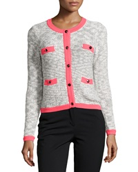 Milly Marbled Neon Trim Cardigan Black Pink