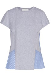 Thakoon Paneled Cotton Blend Top Gray