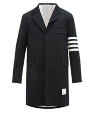 Thom Browne Chesterfield Four Bar Wool Blend Jacket Navy