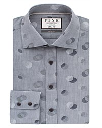 Thomas Pink Ferry Dot Texture Slim Fit Dress Shirt Bloomingdale's Regular Fit Gray Navy