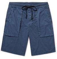 James Perse Slim Fit Stretch Cotton Poplin Cargo Shorts Storm Blue