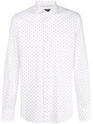 Orian Dot Print Button Down Shirt White