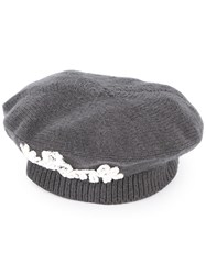 Maison Michel Knitted Beret Grey