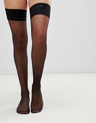 Gipsy Satin Hold Ups Black
