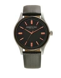 Kenneth Cole Mens Stainless Steel And Leather Watch Black