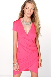 Boohoo Cap Sleeve V Neck Wrap Dress Sugar Coral Sugar Coral