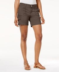 Style And Co Petite Zig Zag Cargo Shorts Only At Macy's Brown Clay