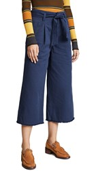 Moon River High Waisted Wide Leg Trousers Navy