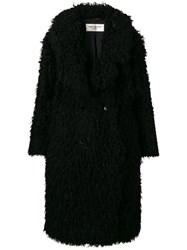 Saint Laurent Curly Faux Fur Coat Black