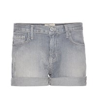Current Elliott The Boyfriend Striped Denim Shorts Blue