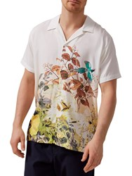 Selected Homme Two Ross Silk Effect Short Sleeve Shirt Turtle Dove