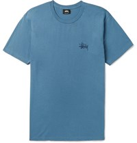 Stussy Printed Cotton Jersey T Shirt Blue