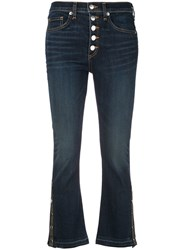 Veronica Beard Flared Cropped Trousers Blue
