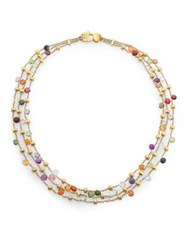 Marco Bicego Paradise Semi Precious Multi Stone And 18K Yellow Gold Three Row Necklace Gold Multi