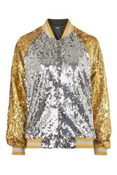 Jaded London Gold And Silver Bomber Jacket By Multi