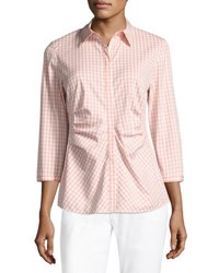 Lafayette 148 New York Leigh 3 4 Sleeve Ruched Gingham Blouse Nectarina Multi