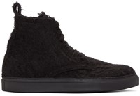 Ann Demeulemeester Black Mohair High Top Sneakers