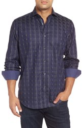 Bugatchi Men's Classic Fit Geo Pattern Sport Shirt Midnight