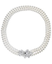 Danori Silver Tone Crystal Cluster Swarovski Imitation Pearl Three Strand 17 Collar Necklace Rhodium