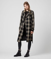 Allsaints Chiara Check Trench Coat Black Chalk White