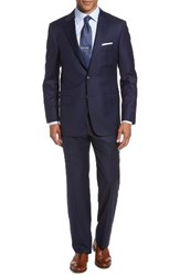 Hickey Freeman Men's Classic Fit Solid Wool Suit Navy