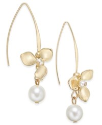 Inc International Concepts Catherine Stein For Gold Tone Imitation Pearl Flower Drop Earrings Only At Macy's
