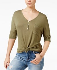 Rebellious One Juniors' Knotted Henley T Shirt Olive