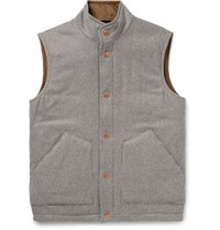 Private White V.C. Padded Checked Wool And Cashmere Blend Gilet Brown