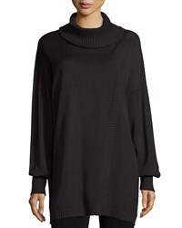 Misook Oversized Turtleneck W Ribbed Detail Black