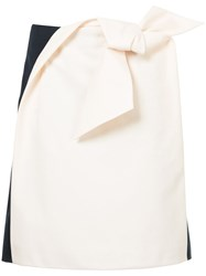 Delpozo Origami Bow Two Tone Skirt Cotton Nude Neutrals