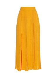 Sonia Rykiel Pleated Ribbed Knit Skirt Orange Multi
