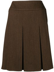Chanel Vintage 1997'S Pleated Skirt Brown
