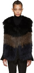 Yves Salomon Navy And Brown Knit Fur Vest