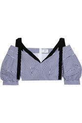 Erdem Debra Cropped Striped Cotton Top Navy