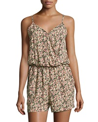 Romeo And Juliet Couture Floral Print Sleeveless Romper Ivory Floral