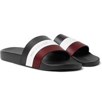 Moncler Basile Striped Leather And Rubber Slides Black