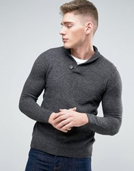 Pull And Bear Pullandbear Shawl Collar Wool Jumper In Grey Dark Grey
